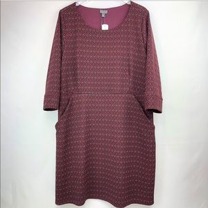 41 Hawthorn |Burgundy geo print 1/2 sleeves dress